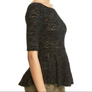 Free People black sheer peplum 3/4 sleeved top XS